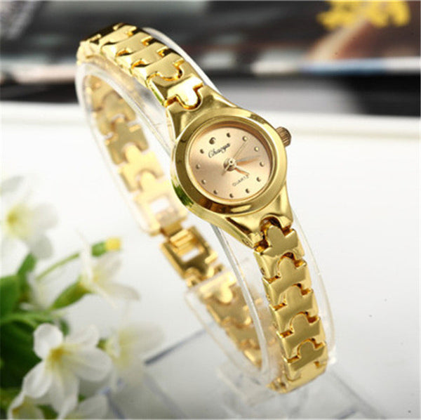 Casual Gold Stainless Steel Bracelet Watch