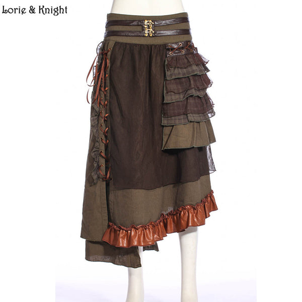 Women Steampunk Lace-up Design Patchwork Layered Long Skirt SP187CF