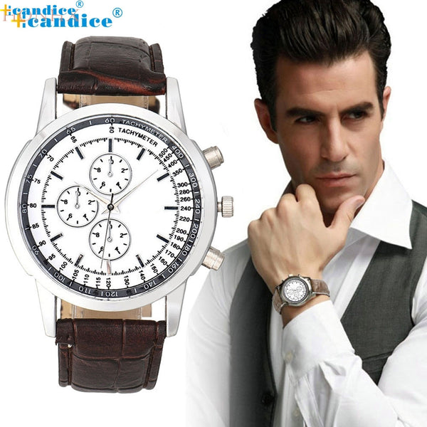 Men's Business Design Dial Leather Analog Watch