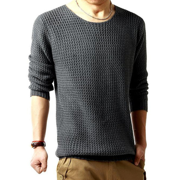 Men Fall Winter thickened water ripples round neck sweater