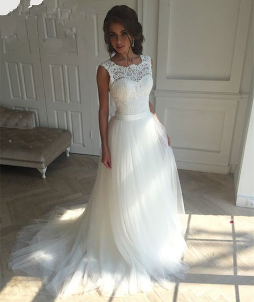 New Lace O-Neck Lace Wedding Dresses Summer Beach Bridal Gown