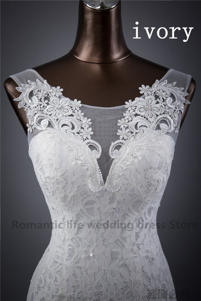 Elegant beautiful lace flowers mermaid Wedding Dress