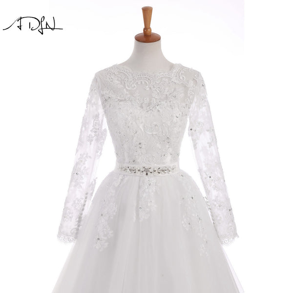 Long Sleeve A-Line Romantic Vintage Bridal Gowns