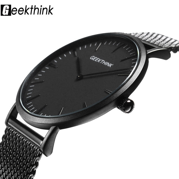 Luxury stainless steel Mesh strap ultra thin Quartz watch