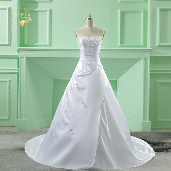 Classic Design Perfect Pearl A line Strapless Wedding Dresses