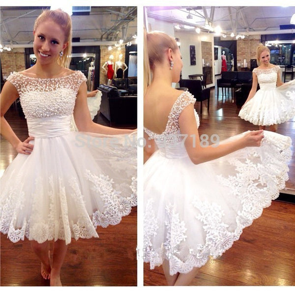New white short bridal gown