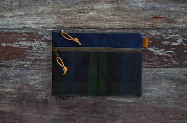 Double Zipper Pouch - Tartan Blue PRE ORDER (1-6 WEEKS)