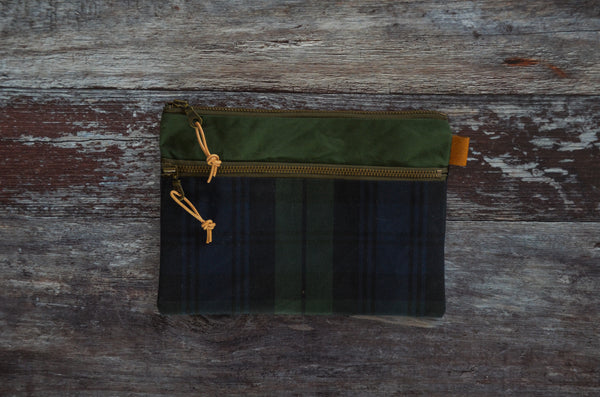 Double Zipper Pouch - Tartan Green PRE ORDER (1-6 WEEKS)