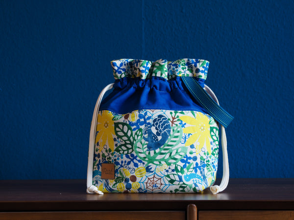 Large Project Bag - Flowery Squirrel Bag blue