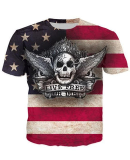Live Free Or Die skull themed T-Shirt