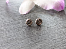 Stamped heart ear studs - Arborea Jewellery