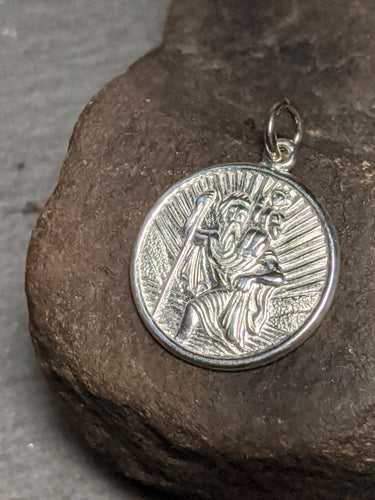 St Christopher coin pendant textures