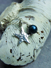 Star birthstone necklace hammered silver - Arborea Jewellery