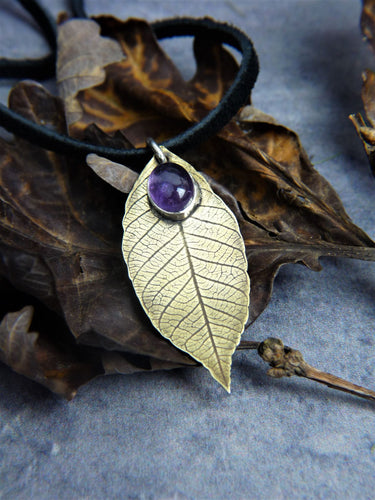 Brass amethyst leaf necklace - Arborea Jewellery