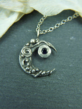 Crescent moon necklace with sapphire - Arborea Jewellery