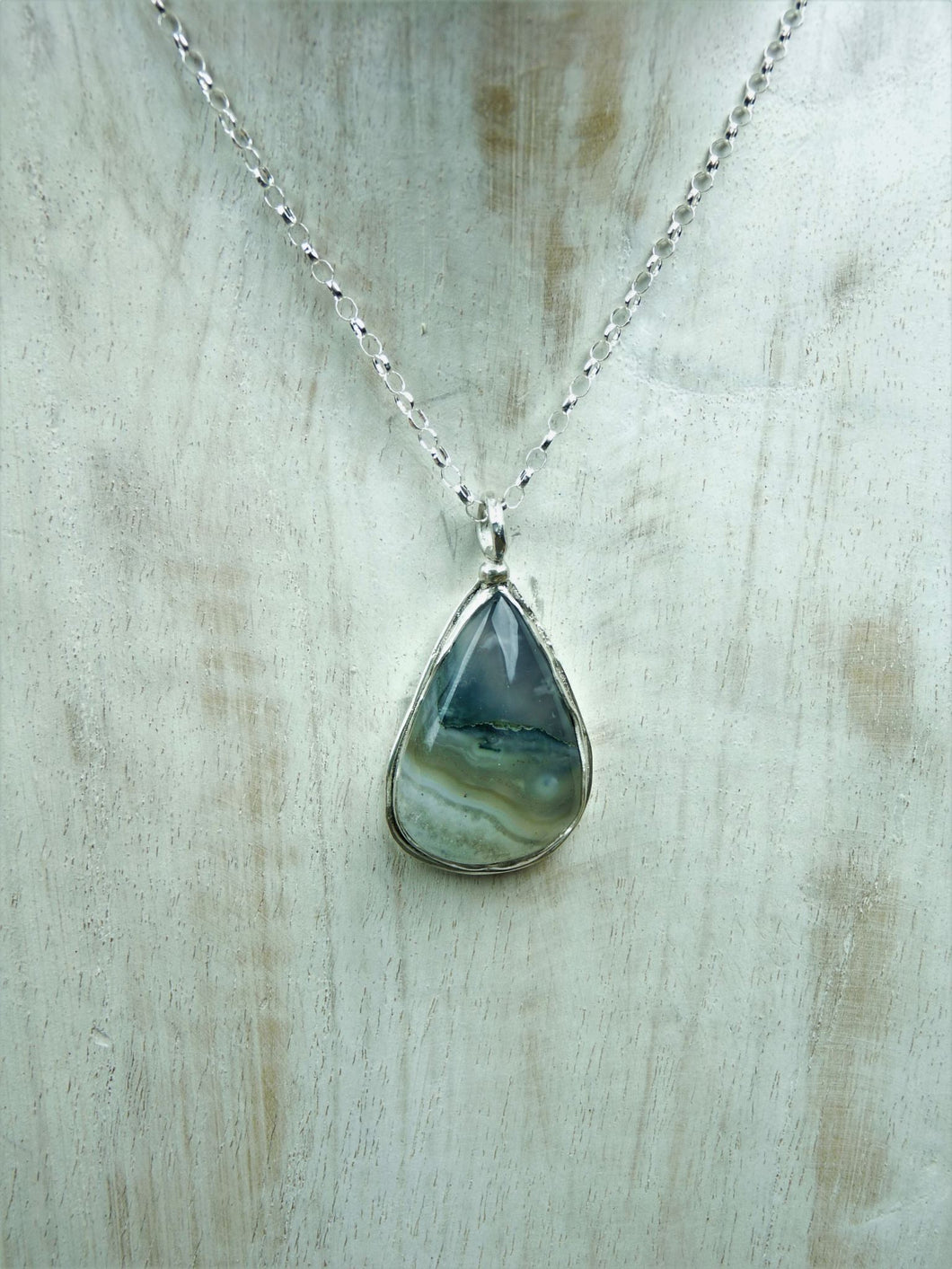 sil shape silver japa home product agate a moss jewellery necklace sterling teardrop
