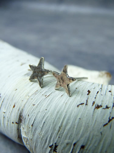 Star earrings hammered silver - Arborea Jewellery