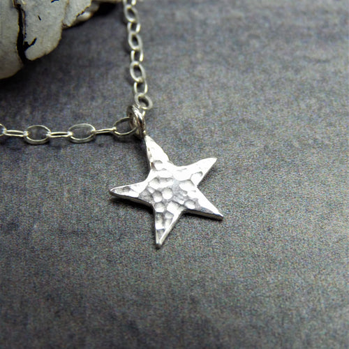 Star necklace hammered silver - Arborea Jewellery