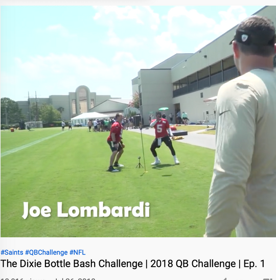 Drew Brees and Joe Lumbardi playing Bottle Bash outdoor lawn game