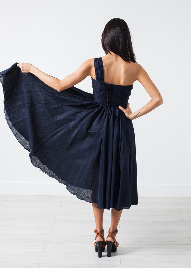 One Shoulder Dress in Navy