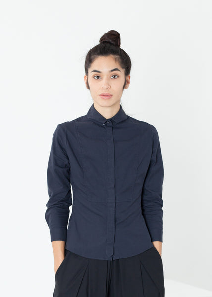 Wrinkled Tux Shirt in Navy