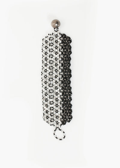 Lattice Bead Cuff in Silver/Black
