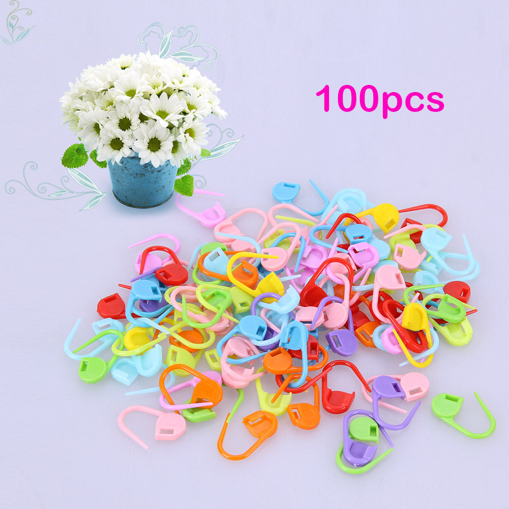 100pcs/lot Mix Color Plastic Knitting Tools Locking Stitch Markers Crochet Latch Knitting Tools Needle Clip Hook