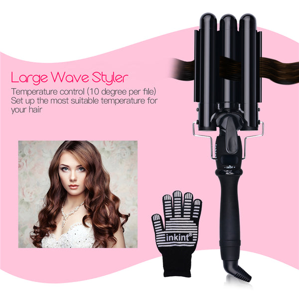19mm 22mm 25mm LCD Digital Perm Ceramic Triple Barrels Deep Curler Wave Curly Hair Waver Roller Fast Heating Curling Iron Glove