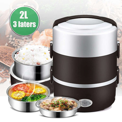 2L 3 Layer Portable Lunch Box Mini Electric Rice Cooker Steamer Meal Thermal Heating Automatic Food Container Warmer Cooking Pot2L 3 Layer Portable Lunch Box Mini Electric Rice Cooker Steamer Meal Thermal Heating Automatic Food Container Warmer Cooking Pot