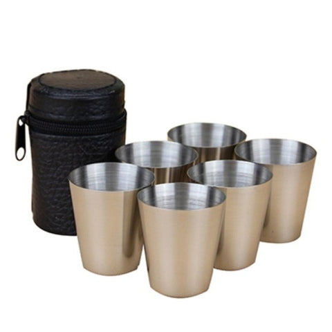 6Pcs/Set 30ml Outdoor Practical Stainless Steel Cups Shots Set Mini Glasses For Whisky Wine Portable Drinkware Set6Pcs/Set 30ml Outdoor Practical Stainless Steel Cups Shots Set Mini Glasses For Whisky Wine Portable Drinkware Set