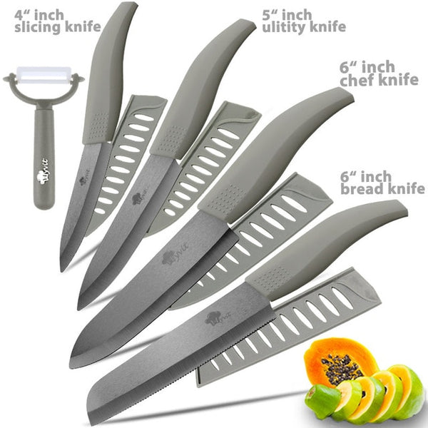 Ceramic Knife 3 4 5 inch + 6 inch Kitchen Knives Serrated Bread Set +Peeler Zirconia Black Blade Fruit Chef Knife Vege Cook Tool