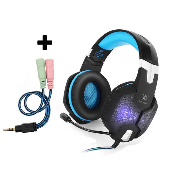 Computer Stereo Gaming Headphones KOTION EACH G1000 Best casque Deep Bass Game Earphone Headset with Mic LED Light for PC Gamer
