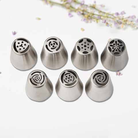 EZLIFE 7PCS Russian Piping Tips Cake Pastry Nozzles Cake Decorating Tools DIY  Biscuits Cake Pastry Nozzles Tips Decorating ToolEZLIFE 7PCS Russian Piping Tips Cake Pastry Nozzles Cake Decorating Tools DIY  Biscuits Cake Pastry Nozzles Tips Decorating Tool