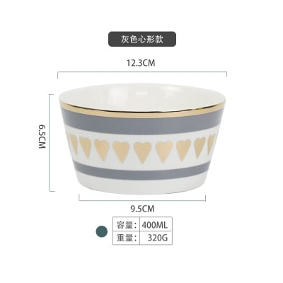 European Style Gold Ceramic Salad Bowl Cereal Rice Soup Mixing Bowl Porcelain Tableware For Dinner High Quality Couples Designs