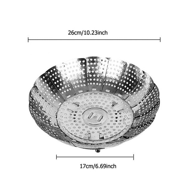 FHEAL Cookware Folding Dish Steam Stainless Steel Food Basket Mesh Vegetable Vapor Cooker Steamer Expandable Pannen Kitchen Tool