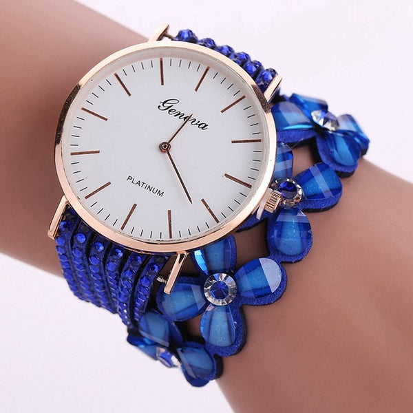 Fashion Geneva Flowers Watches Women Dress Elegant Quartz Bracelet Ladies Watch Crystal Diamond Wrist Watch Gift Reloj Mujer