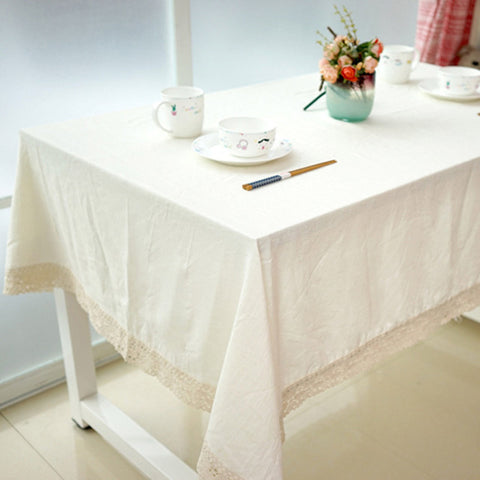 GIANTEX White Decorative Table Cloth Cotton Linen Lace Tablecloth Dining Table Cover For Kitchen Home Decor U1132GIANTEX White Decorative Table Cloth Cotton Linen Lace Tablecloth Dining Table Cover For Kitchen Home Decor U1132