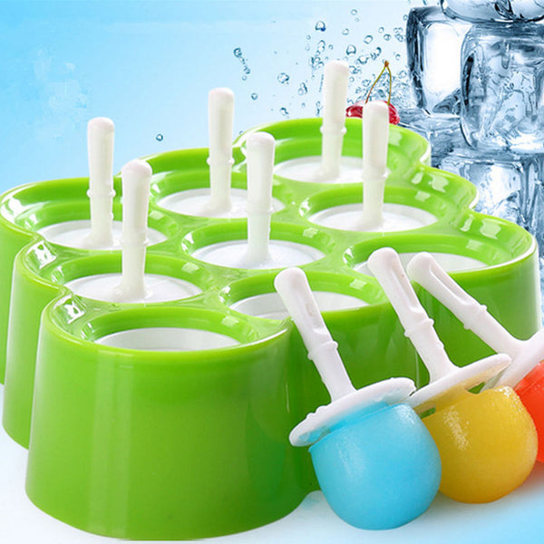 Goldbaking Silicone Mini Ice Pop Mold DIY Ice Cream Ball Maker Popsicle Molds With 9 Stickers