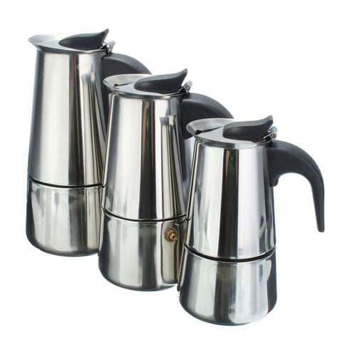 High Quality 100/200/300ml Italian Stainless Steel Espresso Maker Kitchen Drip Kettle Tea Pot Moka Coffe Pot Coffee ExtractorHigh Quality 100/200/300ml Italian Stainless Steel Espresso Maker Kitchen Drip Kettle Tea Pot Moka Coffe Pot Coffee Extractor