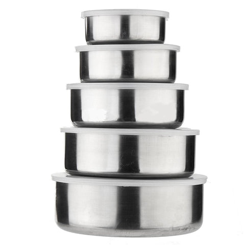 Mayitr 5pcs/set Stainless Steel Mixing Bowls  Crisper Food Container 5 Bowls with 5 Lids For Kitchen ToolsMayitr 5pcs/set Stainless Steel Mixing Bowls  Crisper Food Container 5 Bowls with 5 Lids For Kitchen Tools