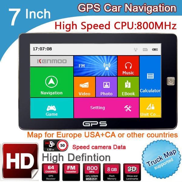 New 7 inch HD Car GPS Navigation 800M/ FM/8GB/DDR3 2018 Maps For Russia/Belarus/ Europe/USA+Canada TRUCK Navi Camper Caravan