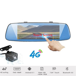 "Podofo GPS Navigation 4G Android Car DVR 4G 7.84"" Touch Screen ADAS Rearview Mirror Dash Camera Dual Lens Dashcam Vehicle GPS"