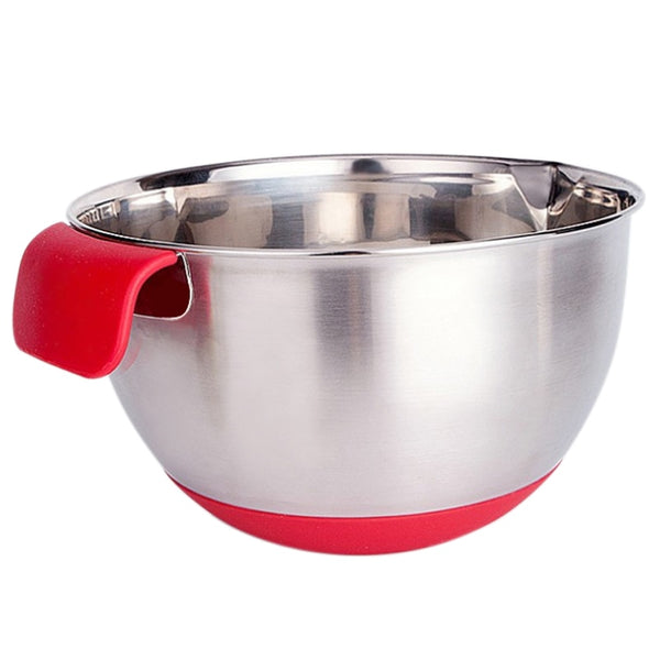 Silicone handle stainless steel non-slip scale mixing bowl salad bowl