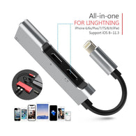 Portable Dual Lightning Adapter Splitter Lightning to 3.5 mm Headphone Jack Adapter for iPhone 8 X silver