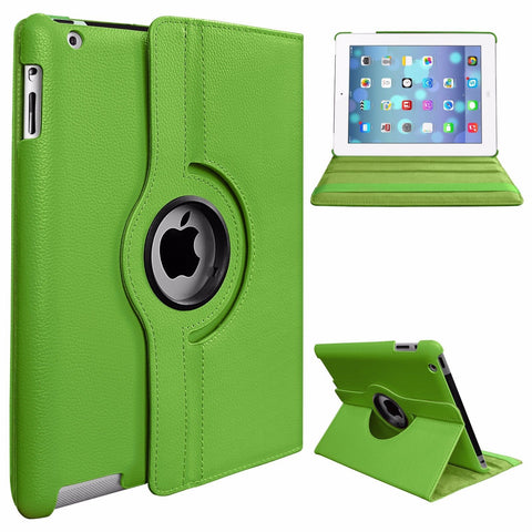 360 Degree Rotating Stand PU Leather Case Cover for Apple iPad2 iPad3 iPad4 Green