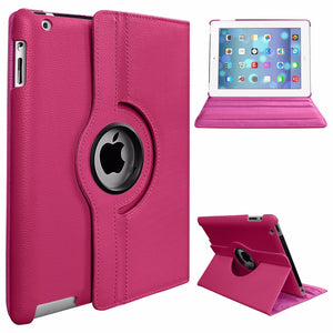 360 Degree Rotating Stand PU Leather Case Cover for Apple iPad2 iPad3 iPad4 Rose red