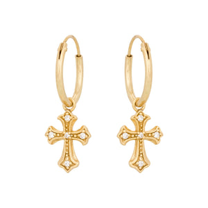Zirconia Cross Gold - Earrings