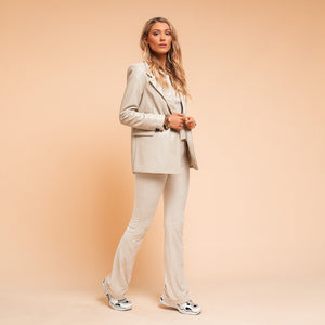Holly Beige - Leather Blazer