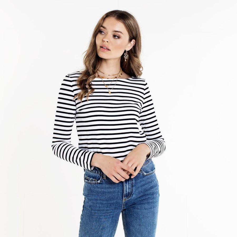 PIECES-INGRID-NIKKI-STRIPED-BLACK-TOP