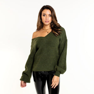 LOUA-ARMY-GREEN-KNIT-TRUI-MET-V-HALS-Olivia&Kate-SF2